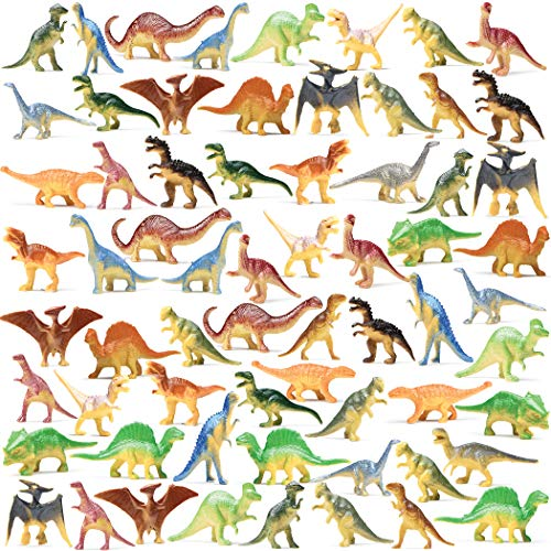 Prextex Box of Mini Dinosaur Toys (72 Count) Best for Dinosaur Party Favors Cake Toppers Easter Eggs Filler