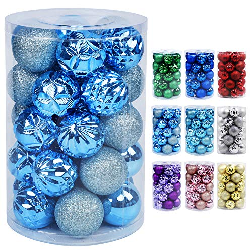 Lulu Home Christmas Ball Ornaments, 34 Ct Pre-Strung Xmas Tree Decorations, Holiday Hanging Balls Sky Blue 2.36''