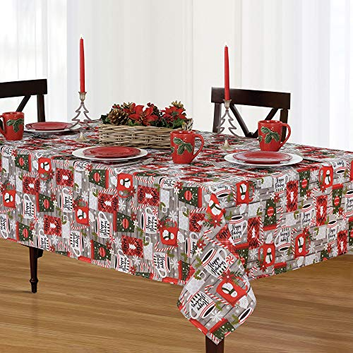 Elrene Home Fashions Jolly Cocoa and Candy Cane Holiday Christmas Fabric Round Tablecloth, 70', Multi