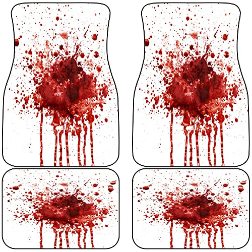 CONICIXI 4PCS Front and Rear Car Floor Mats,Funny Splattered Blood Stain Horror Halloween,Non Slip Rubber Backing Auto Foot Mat Floor Carpet Fit for Car SUV Truck Sedans