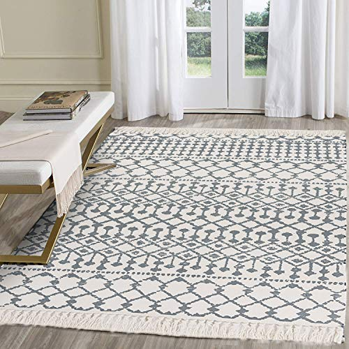 HEBE Large Cotton Area Rug 4' x 6' Washable Hand Woven Printed Cotton Area Rug with Fringe Tassel Accent Rug Cotton Throw Rugs Floor Carpet for Living Room Bedroom