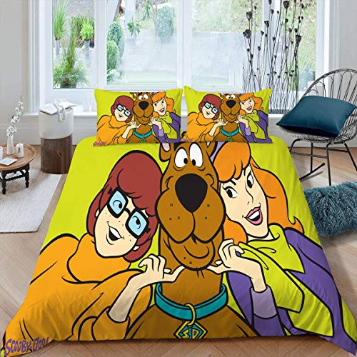 Comforter Bedding Set 3 Piece Set, Scoob All Season Quilt Set Duvet Cover & 2 Pillowcases Ultra Soft and Breathable Comforter Cover, King (104x90 inches) Velma Daphne & Scooby Doo