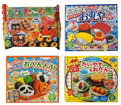 Assortment of 4 Kracie Popin Cookin & Happy Kitchen kits 'NT6000248' 4 packs of Japanese educational confectionery.