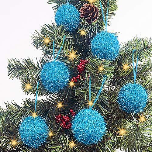 LimBridge Christmas Tree Ornaments, 6 Pcs Knitted Sparkle Glitter Bling Christmas Ball Decorations, for Xmas Decor Holiday Decor, Shimmer Sky Blue…