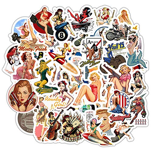 50Pcs Pin Up Stickers for Adult Teen, Waterproof Decal for Hydro Flask Water Bottle Laptop Skateboard Computer Phone Bike Luggage Helmet, Cute Fashion Girl Gift - Poster Girl Sexy Lady