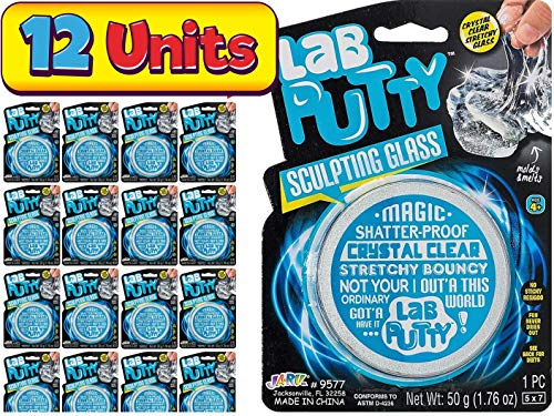 JA-RU Lab Putty Crystal Clear Glass Game (12 Pack) Transparent Slime Clay Best Thinking Smart Crazy Stress Relief Cloud Putty Toy for Kids and Adults with Tin, Sensory Toys Party Favor 9577-12p