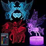 Koyya Unicorn 3D Night Light Illusion Table Lamp with 7 Color and 4 Changing Modes, USB Power/Touch Switch/with Remote Control for Room Decor,Kids's Toy and Gifts, 3 Pack