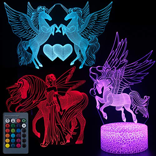 Koyya Unicorn 3D Night Light Illusion Table Lamp with 7 Color and 4 Changing Modes, USB Power/Touch Switch/with Remote Control for Room Decor,Kids's Toy and Gifts, 3 Pack……