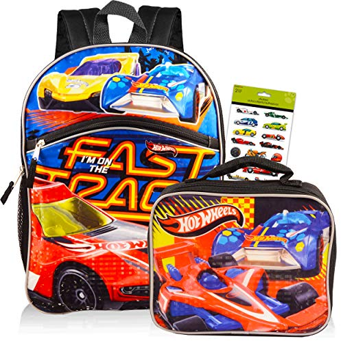 Fast Forward Hot Wheels Backpack Combo Set ~ Deluxe 16' Hot Wheels Backpack with Lunch Box for Kids Boys with Bonus Temporary Tattoos (Hot Wheels School Supplies)