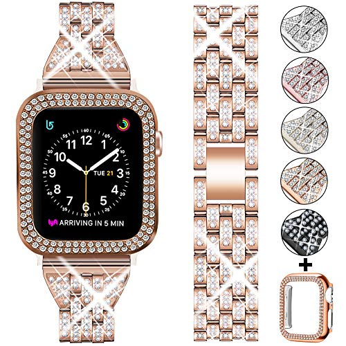 DSYTOM Compatible Apple Watch Band 40mm 38mm 42mm 44mm with Case Women,Rhinestone Metal Jewelry Wristband Strap with Bling PC Protective Case Replacement for iWatch Series 5 4 3 2 1(Rose gold)