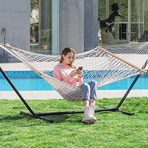 PNAEUT Max 475lbs Capacity Double Hammock with Stand 2 Person Heavy Duty Traditional 2 People Rope Hammocks Stand Included with Pillow for Outside Porch Patio Garden Backyard Outdoor ( Burlywood )