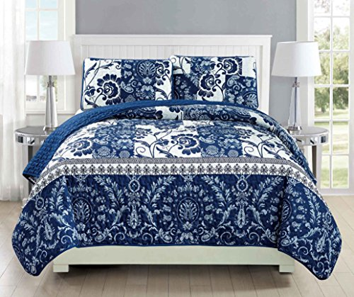 Mk Collection 3pc Bedspread coverlet quilted Floral White Navy Blue Over Size New #186 Full/Queen