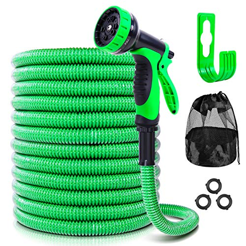 Ohuhu [2020 Patent Design] 100 FT Expandable Garden Hose Water Hose, Flexible Hose with 10-Function Spray Nozzle & Hose Holder, Storage Bag, 3-Layer Flexible Hose with PVC Protective Film