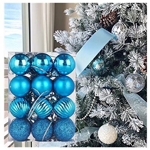 24ct Christmas Ball Ornaments, 30mm/1.18inch Shatterproof Christmas Ornaments Set, Assorted Pendant Xmas Tree Balls Seasonal Holiday Wedding Party Decorations (Sky Blue, 4 Types)