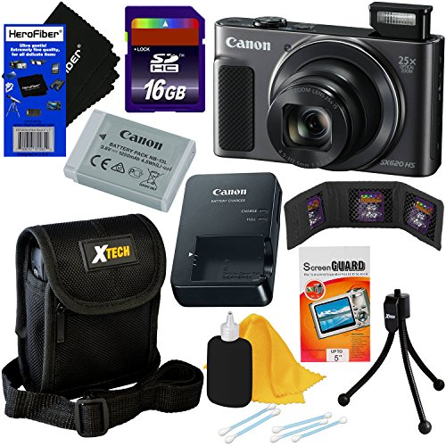 Canon PowerShot SX620 HS 20.2 MP Wi-Fi Digital Camera with 25x Optical Zoom & HD 1080p Video (Black) International Version + 9pc 16GB Accessory Kit w/HeroFiber Gentle Cleaning Cloth
