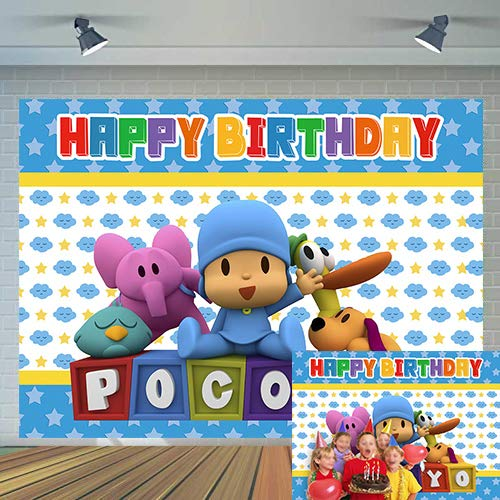 Pocoyo Theme Photography Backdrop Boy Prince Happy Birthday Party Decoration Supplies Photo Background Baby Shower Newborn Studio Props Cake Dessert Table Decor Banner 5x3ft