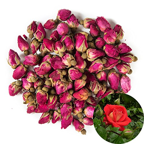 TooGet Fragrant Natural Red Rose Buds Rose Petals Organic Dried Flowers Wholesale, Culinary Food Grade - 8 OZ