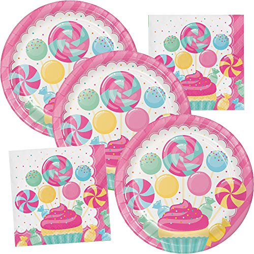 Candy Bouquet Happy Birthday Party Supplies Plate and Napkin Set Serves up to 16 Guests