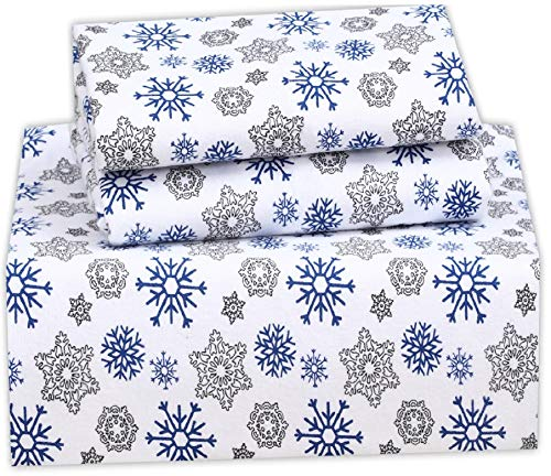 Ruvanti 100% Cotton 4 Piece Flannel Sheets Full Snow Flake Print Deep Pocket -Warm-Super Soft - Breathable Moisture Wicking Flannel Bed Sheet Set Full Include Flat Sheet, Fitted Sheet 2 Pillowcases