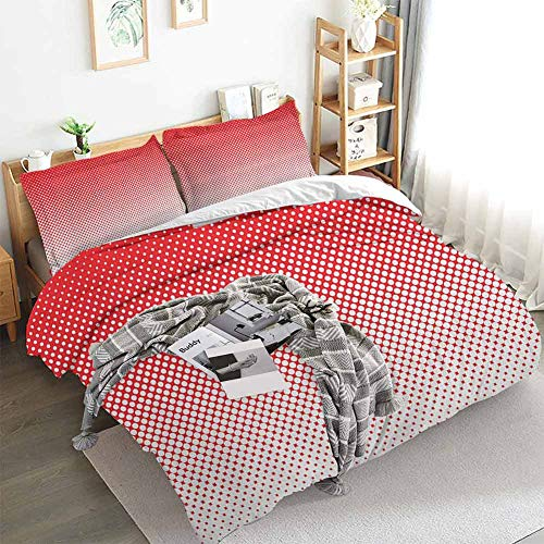 HouseLookHome Red Kids Duvet Cover Set Retro Style Pointillism Art Pattern with Half Tone Effect Dotted and Ombre Inspired Bed Sheet Set and Pillow Case Red White Twin Duvet Cover Set