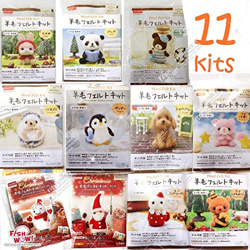 Daiso Japan Set of 11 Wool Needle Felt DIY Aminal Kits - Bear,Snowman, Santa, cat.
