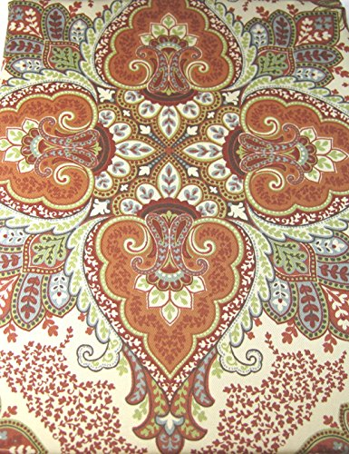 Tahari Home Baroque Medallion Tablecloths Assorted Sizes Oblong and Round Multi Color on Cream (60 x 84 Oblong)