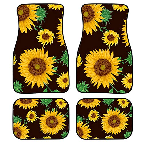 ZERODATE Beauty Sunflowers Pattern Duty Rubber Durable Foot Mats for Car Truck SUV & Van Floor Pads All Weather Protection for Christmas Black