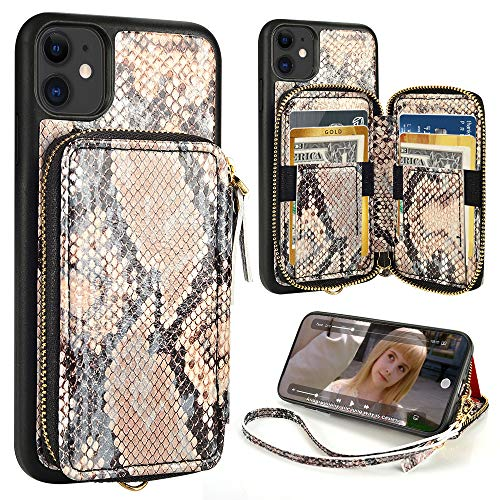 iPhone 11 Wallet Case,ZVE iPhone 11 Case with Credit Card Holder Zipper Wallet Case with Wrist Strap Protective Purse Leather Case Cover for Apple iPhone 11 6.1 inch -Primrose Yellow Snake Skin