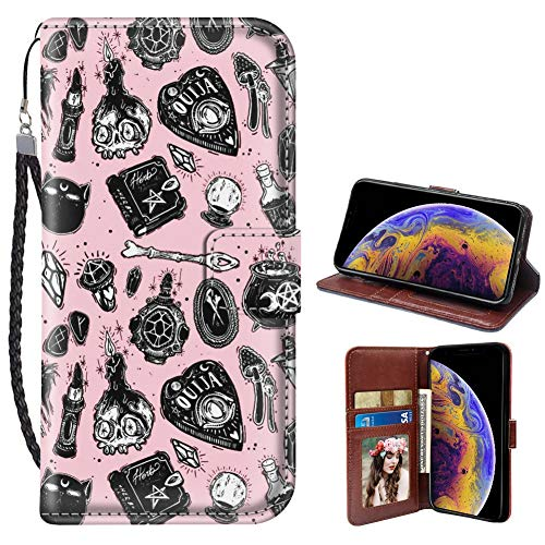 SANTUO iPhone Xr Wallet Case Witchcraft Print with Card Slots Stand Feature and Magnetic Closure PU Leather Flip Case for iPhone Xr