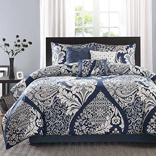Madison Park Sateen Cotton Comforter Set-Traditional Luxe Design All Season Lightweight Bedding, Shams, Bedskirt, Decorative Pillows, Queen(90'x90'), Vienna, Damask Indigo 7 Piece