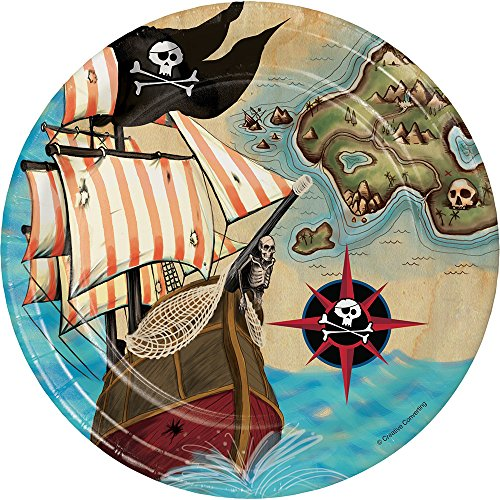 Creative Converting Pirate's Map Sturdy Style Paper Dessert Plates (8 Count), 7'
