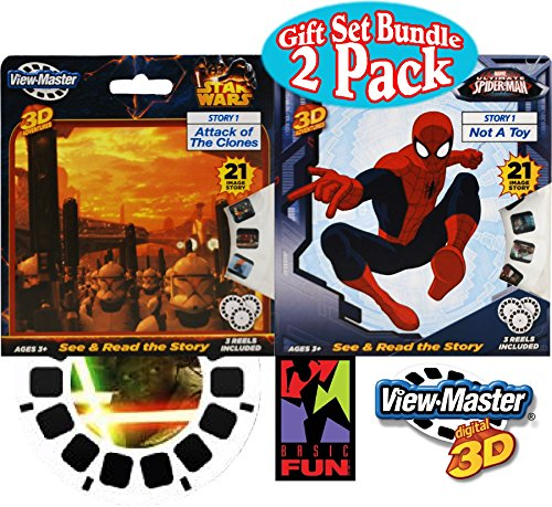 Basic Fun View-Master Classic 3D Adventures 3 Reel Refills 'Spider-Man' & 'Star Wars' Gift Set Bundle - 2 Pack