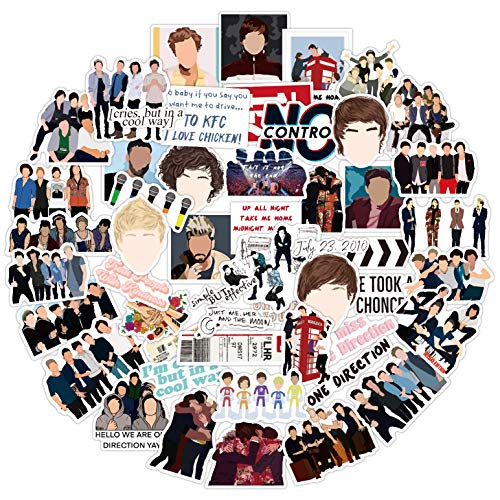 52Pcs One Direction Stickers, Harry Styles Louis Liam Horan One Direction Waterproof Vinyl Stickers Decals for Laptop Water Bottle Bumper Luggage Computer Skateboard Snowboard