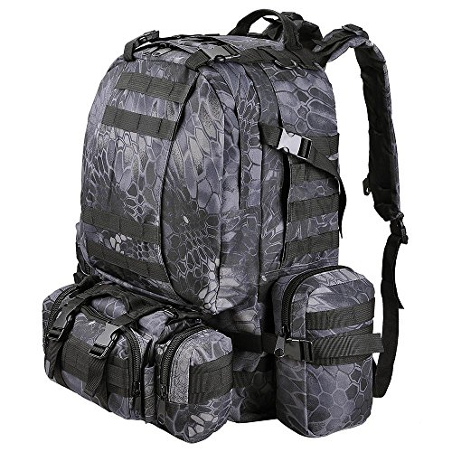 AW 55L 600D Tactical Army Rucksacks Molle Backpack Camping Outdoor Hiking Trekking Traveling Bag Black Pythons Grain