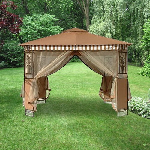 Garden Winds Tivoli 10 x 10 Gazebo (Series 2) Replacement Canopy Top Cover - Solid Beige Color ONLY, NO Striped Valence