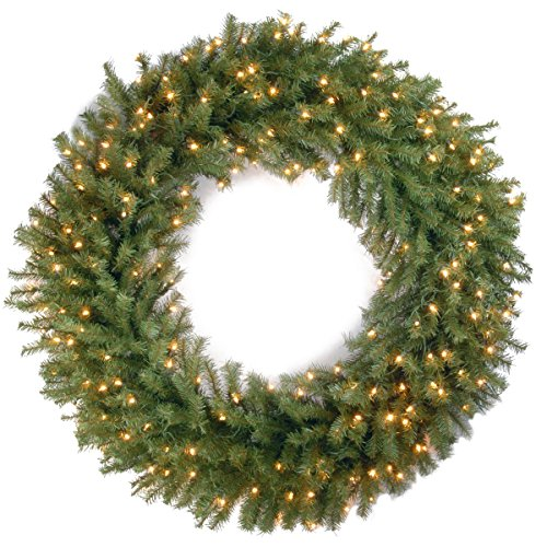 National Tree Company Pre-lit Artificial Christmas Wreath  Includes Pre-strung White Lights   Norwood Fir - 48 inch