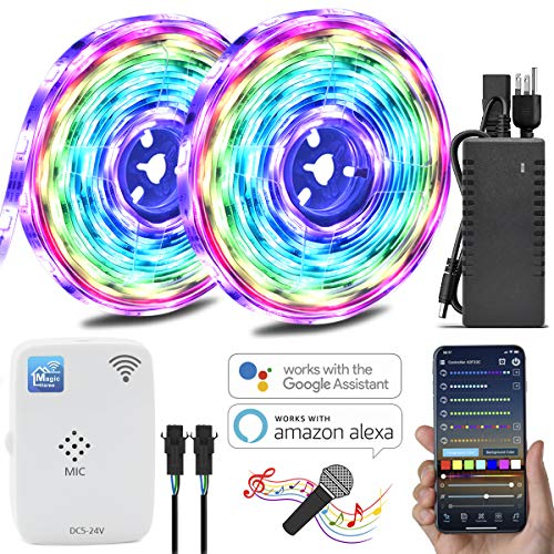 Color Chasing Alexa LED Strip Light Kit, 32.8Ft 10m Flexible Addressable RGB LED Rope Lights Working with WiFi SPI Music Timer Controller Support iOS & Android APP, Amazon Alexa and Google Home