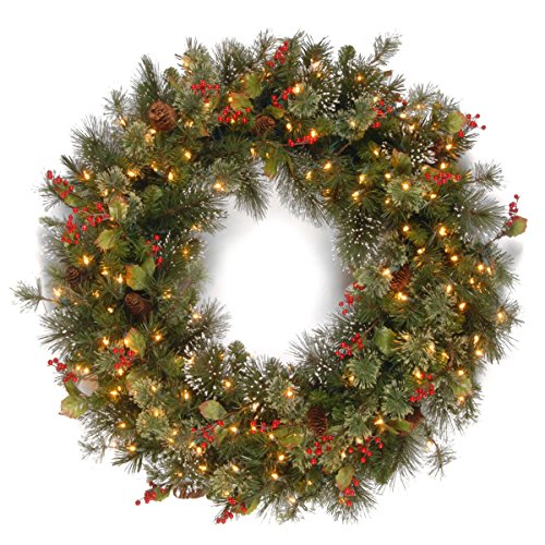 National Tree Company Pre-lit Artificial Christmas Wreath  Flocked with Mixed Decorations and Pre-strung White Lights   Wintry Pine - 48 inch