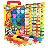 KIDDY DOUGH 80 Pack of Dough - School & Birthday Party Favors Bulk Clay Classpack - Includes Molded Animal Shaped Lids - Holiday & Christmas Gift Edition – (1oz Dough Tubs - 80oz Total) Gift for Kids