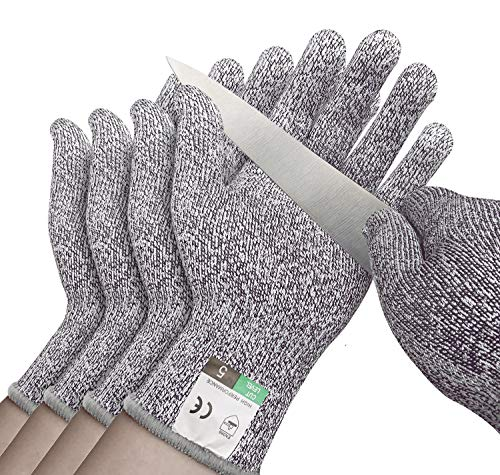 4 Pack Cut Resistant Gloves - Safety Gloves Food Grade Cut Proof Gloves, Safety Cutting Glove for Hand Protection in Kitchen