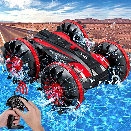 Amphibious RC Car for Kids Rotate 360° Spins & Flips, 2.4 GHz 4WD Amphibious Remote Control Car Boat RC Monster Truck Stunt Car Vehicles Toys for 5-12 Year Old Boys Christmas Birthday Gifts, Red