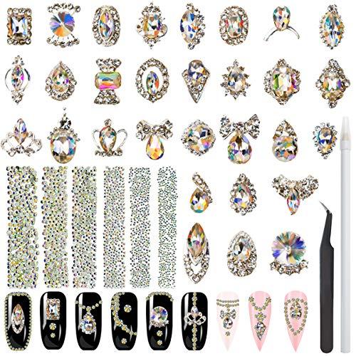 3312pcs Nail Crystal Rhinestones Round Stones with 30pcs Nail Metal Gems Diamond Jewels for 3D Nails Art Decorations Kit