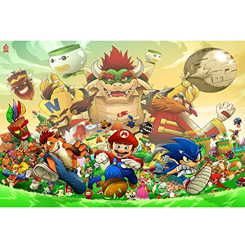 QFW Mario Puzzles 300/500/1000/1500 Pieces for Adults Wooden Super Maria Cartoon Game Jigsaw Puzzles Decompression Toys R/74 (Size : 1000 Pieces)