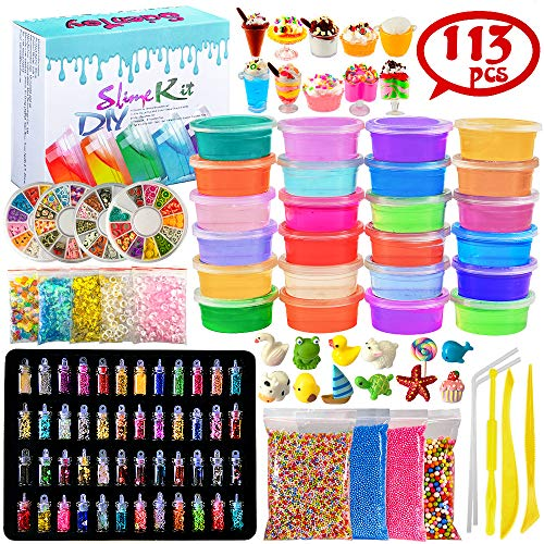 Scientoy DIY Slime Kits, 113 Pcs Slime Making Spplies for Kids ,DIY Box Include 24 Crystal Slime with containers, Slime Charms ,Glitters, Foam Balls, Fruit Slices, Fishbowl Beads for Girls&Boys