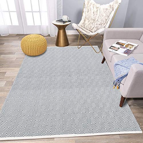 HEBE Cotton Area Rug 4' x 6' Machine Washable Reversible Indoor Area Rug/Mat Hand Woven Cotton Area Rugs for Living Room, Bedroom, Laundry Room, Entryway (Grey)