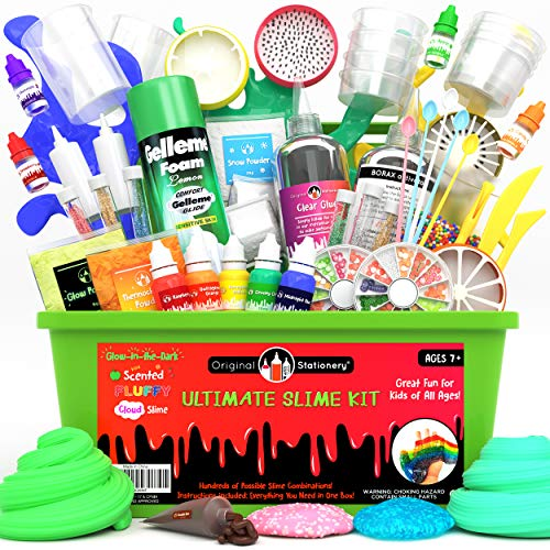 Original Stationery Ultimate Slime Kit DIY Slime Making Kit with Slime Add Ins Stuff for Unicorn, Glitter, Cloud, Butter, Floam, More - Deluxe Slime Kits Gift for Girls and Boys (Green, 53pcs)