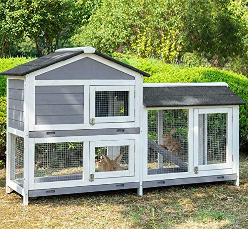 Merax Chicken Coop Pet Rabbit Hutch Wood House Pet Cage for Small Animals in Upgraded Color- Gray and White