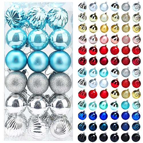 Christmas Balls Ornaments for Xmas Tree, 36ct Plastic Shatterproof Baubles Colored and Glitter Christmas Party Decoration 2.4inch Set (Sky Blue & Silver, 2.4 inch)