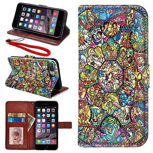 DC Faner iPhone 7 Plus Case iPhone 8 Plus Case iPhone 7 Plus 8 Plus Wallet Case PU Leather Flip Case with Card Slots Stand Wrist Strap and Magnetic Closure Cover (Disney All Characters)