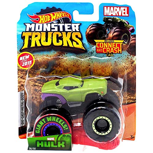 Hot Wheels 2019 Monster Trucks Marvel's Hulk with Connect and Crash Car #36/50 1:64 Scale Die-Cast